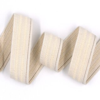 Organic elastics - 25 mm - ecru - with identification thread