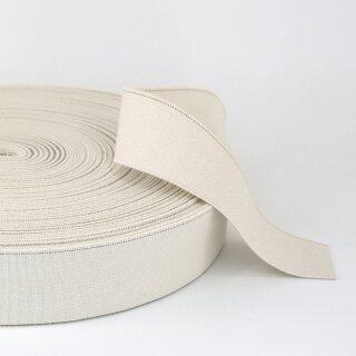 Organic elastics - 40 mm - ecru - light - with identification thread